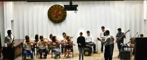 La banda sinfónica del colegio también estuvo presente en el encuentro.