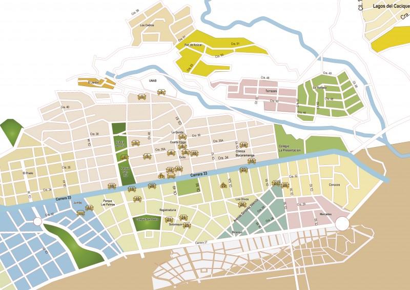 Mapa de parqueaderos en Cabecera.