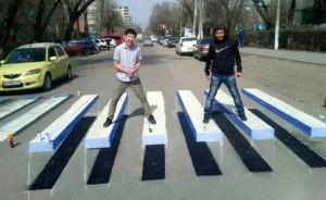 En Biskek, Kirguistán, Begimai Sataeva, la estudiante de periodismo de la Universidad Americana de Asia Central y miembro del grupo Global Shapers, desarrolló varios proyectos relacionados a la urbanización y a temas sociales,  incluidos los cruces peatonales en 3D