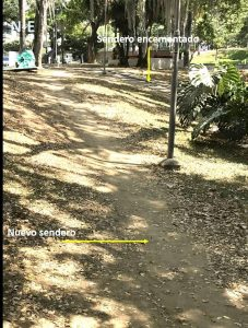 El descuido o la pereza de los transeúntes, que no hacen uso debido de los senderos construidos, está generando daños en el parque San Pío, según denuncia el periodista del barrio. - Suministrada/GENTE DE CABECERA