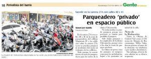 Por otro lado, como se publicó en la anterior edición, algunos residentes exigen la recuperación de este espacio de parqueo. - Archivo/GENTE DE CABECERA