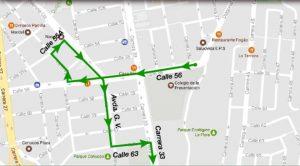Una de las opciones propuestas por la DTB es continuar por la calle 56 hacia el occidente, tomar la carrera 29 al norte, subir por la calle 55a al oriente hasta la avenida González Valencia, girar a la derecha hasta la calle 63, subir por esta hacia el oriente y retomar la carrera 33 al sur. - Suministrada/GENTE DE CABECERA