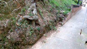 El muro del parque Los Sarrapios está deteriorado desde junio aproximadamente. - Suministrada / GENTE DE CABECERA