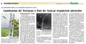 En días pasados la comunidad de este barrio denunció la falta de mantenimiento a varias luminarias de este y otros sectores. - Archivo/GENTE DE CABECERA