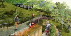 Así quedará el Parque Bosque Encantado, que se ubicará en el terreno que une a Cabecera, por un costado del parque Los Leones, con el barrio Álvarez. La inversión de este proyecto es cercana a los $5.220 millones. - Suministrada / GENTE DE CABECERA