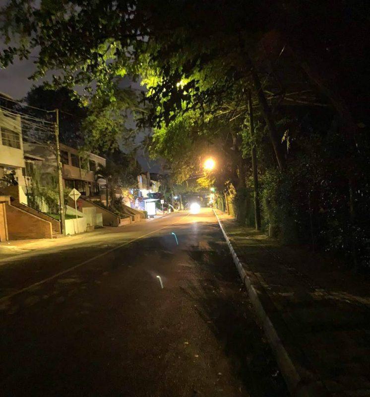 La oscuridad se apodera de un tramo de la carrera 45 debido a la gran cantidad de ramas de los árboles del parque La Flora que bloquean la luz de las luminarias. - Suministrada / GENTE DE CABECERA