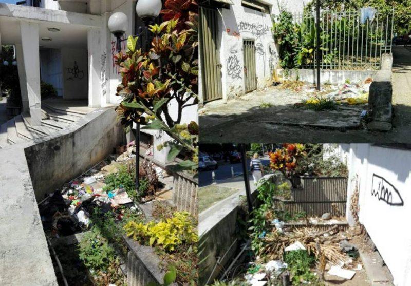 Basuras en las jardineras y grafitis en las fachadas son algunas de las acciones que deterioran el antiguo edificio del Club Los Profesionales y lo convierten en foco de inseguridad. - Suministradas / GENTE DE CABECERA