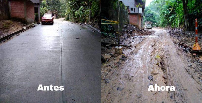 """Así se veía la vía de acceso al sector """"Quebrada Pan de Azúcar"""" antes de ser intervenida y así se encuentra ahora, tras el abandono de las obras. - Suministradas / GENTE DE CABECERA"""
