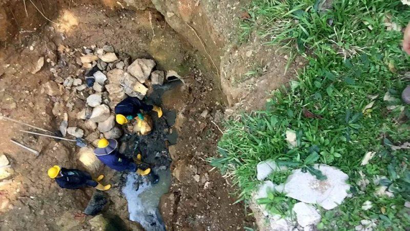 Empas informó que los trabajos de control del cause de las aguas residuales, generadoras del daño, se empezaron a ejecutar el día de ayer jueves. - Suministrtrada / GENTE DE CABECERA